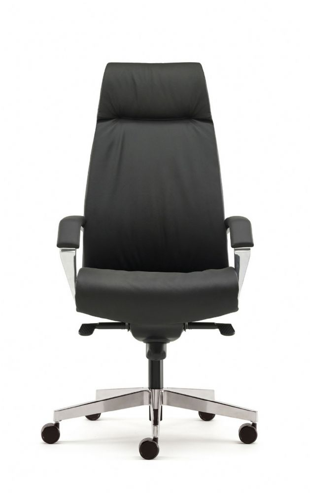 Pledge Zante Executive Leather Task Chair in Black Leather With Fine Chrome Finish